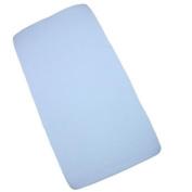 Fitted Cot Sheet - Plain Blue - Soft Cotton Jersey - 120cm x 60cm x 9cm