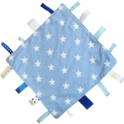 New handmade security tag blanket comforter by Dotty Fish. Made in England. Blue Star Design.