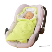 ByBoom® - Swaddling Wrap, Car Seat and Pram Blanket for Spring, Summer and Autumn/Fall, Universal for infant and child car seats eg; Maxi-Cosi, Britax, for a pushchair/stroller, buggy or baby bed, Colour:Lime