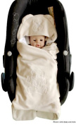 ByBUM- Swaddling Wrap, Car Seat and Pram Blanket for Spring, Summer and Autumn/Fall, Universal for infant and child car seats eg; Maxi-Cosi, Roemer, for a pushchair/stroller, buggy or baby bed; BEIGE BEAR
