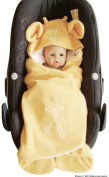 ByBUM- Swaddling Wrap, Car Seat and Pram Blanket for Spring, Summer and Autumn/Fall, Universal for infant and child car seats eg; Maxi-Cosi, Roemer, for a pushchair/stroller, buggy or baby bed; APRICOT GIRAFFE