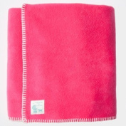 Tuppence and Crumble soft fleece Baby Blanket 100x145cm Bright Pink with Cream Stitching