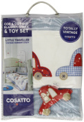 Cosatto Knitted Blanket, Sheet & Toy - Little Traveller Blue