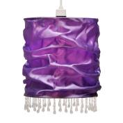 Modern Purple Faux Silk Beaded Non Electric Pendant Light Shade