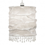 Modern White Faux Silk Beaded Non Electric Pendant Light Shade
