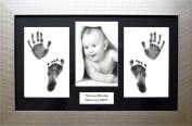 BabyRice Baby / Toddler Handprint Footprint Kit with 37cm x 22cm Silver Frame, Black mount