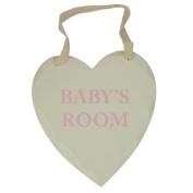 Baby's Room Wooden Plaque Heart Shape Cream Gender Neutral Pink Writting
