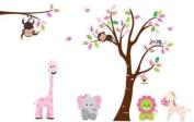 Fungoo large colourful tree & jungle animals wall sticker nursery bedroom wall art decor Elephant/Monkeys/Giraffe/Loin/Owls/zebra Kids room removable decal baby bedroom wall art