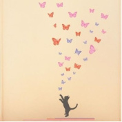 Decowall, DW-1305BD, 3 Colours Butterflies and a Kitten Wall Stickers/Wall decals/Wall tattoos/Wall transfers