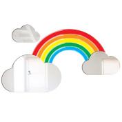 Mungai Mirrors 80 x 45cm Rainbow and Clouds Acrylic Mirror and Vinyl Sticker Set