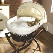 Izziwotnot Gift Cream on Dark Wicker Moses Basket