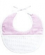 PINK BABY BIB WITH CROSS STITCH INSERT