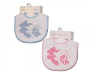 Nursery Time Bears Embroidered Pink hook and loop Bibs