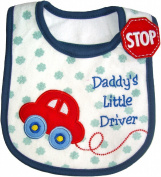 Baby Bib, Daddy's Little Driver, Embroidered Detail, 100% Cotton, Blue & Red, FULLY LINED INNER WATERPROOF LAYER