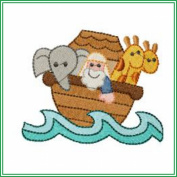 AJPBABYBIBW01404 Embroidered Popover Baby Bib - Noah's Ark