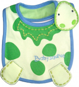 Baby Bib Baby Saurus for Boy or Girl hook and loop Cotton, Embroidred, FULLY LINED, INNER WATERPROOF LAYER, One Size, Lime Green