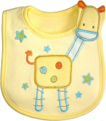Baby Bib Giraffe for BOY or GIRL hook and loop Cotton One Size, Embroidered, FULLY LINED, INNER WATERPROOF LAYER, - Yellow