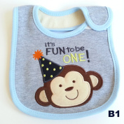 Colourful Baby World Baby Boy Embroidered Blue Cotton Birthday Bibs - Fun to be ONE Monkey