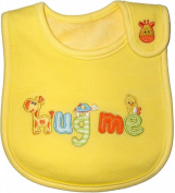 Baby Bib for Boy or Girl, Hug Me Giraffe - Yellow & Orange, Embroidered, FULLY LINED, INNER WATERPROOF LAYER