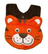 Baby Bib for Boy or Girl, Tea Time Tiger - Size Small - Terry & Cotton baby bib, Orange & Brown