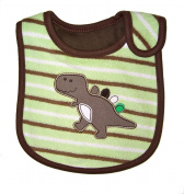 Baby Bib, Stripey Dinosaur, FULLY LINED INNER WATERPROOF LAYER, - Brown & Green