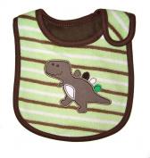 Baby Bib, Stripey Dinosaur, FULLY LINED INNER WATERPROOF LAYER, - Brown & Green
