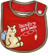 Baby Bib, Hungry as a Bear, Embroidered Detail, 100% Cotton, Red & Brown, FULLY LINED INNER WATERPROOF LAYER