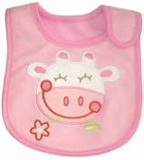 Baby Bib, PINK COW & FLOWER, Pink, Cotton, FULLY LINED INNER WATERPROOF LAYER