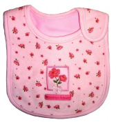 """Baby Bib for Girl, Roses """"Mommy's Little Girl"""", Embroidered Detail, 100% Cotton, Pink & Light Brown, FULLY LINED INNER WATERPROOF LAYER"""
