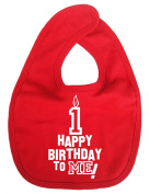 Image is Everything - Happy Birthday to ME! 1 year old - Baby, Toddler, Feeding Bib, Red