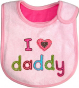 Baby Bib I Love Daddy- Pink hook and loop Cotton, Embroidered,FULLY LINED, INNER WATERPROOF LAYER, One Size