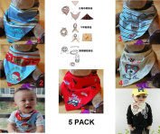 Pack of 5 New Cute Baby Boys Dry Dribble Catcher Bandana Bibs / Head Scarves