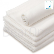 Pack of 5 White Soft for Newborn Baby, Muslin Squares, Cloth, Bibs Wipes 100% Pure Cotton Reusable Nappy **Other choices available. See inside.**