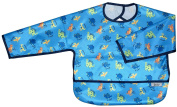Blue Dinosaur Long Sleeve Large Waterproof Coverall with Flip Over Pocket, by Frenchie Mini Couture