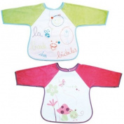 Babycalin BBC203201 Double Bibs with Embroidered Sleeves and Self-Closing Fastener EVA Plastic Printed Design