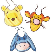 Babycalin DIS202025 Bib in the Shape of the Faces of Winnie the Pooh and his Friends Lace-Up Fastening - Colours May Vary