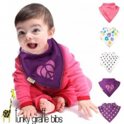 Set of 5 Purple and Pinks Funky Giraffe Bandana Bibs
