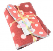 Cornish Daisy Red Polkadot fleece blanket and dribble bib gift set