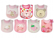 Baby Bibs for Girl, for 7 Days of the week, Embroidered/FULLY LINED with INNER WATERPROOF LAYER hook and loop 100% Cotton, One Size (7 pack) - Pink/Red/White