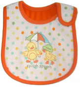 Baby Bib, UMBRELLA DUCKS, SPLISH SPLASH, Embroidered Detail, White & Orange, 100% Cotton, FULLY LINED INNER WATERPROOF LAYER