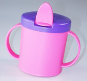 Anywayup Cup Mark 2 Flip Top Baby Drinking Beaker Leakproof Spout Pink and Purple 4 Months and Up
