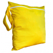 FAB4BABYSTARS, Sun Yellow, Wet Bag, Nappy Bag, Toiletry Bag, Laundry Bag, Peg Bag, Snack Bag, Storage Bag for Toys, Stretchy, Waterproof Material with Zip, Handle for Hanging up