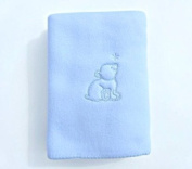 Blue Fleece Pram Blanket With Bear Motif