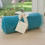 Tuppence and Crumble soft fleece baby blanket turquoise with cream stitching