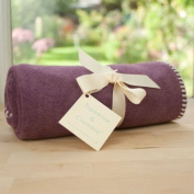 Tuppence and Crumble soft fleece baby blanket heather with cream stitching
