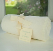 Tuppence and Crumble soft fleece new born baby blanket Cream