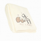 Cute Plush Fleece Buggy Blanket With Elli & Raff Motif - Cream