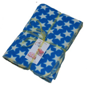 White Stars on royal blue micro fleece baby or toddler blanket