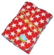 White Stars on Red micro fleece baby or toddler blanket
