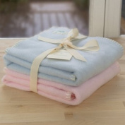 Tuppence and Crumble soft fleece new born baby blankets gift set Pale Blue and Pale Pink